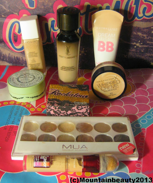 MUA Undressed Too Benefit Rockateur Bourjois Java Rice Powder Max Factor Whipped Creme Foundation Light Ivory Revlon Naked Skin Ivory YSL Youth Liberator Foundation Maybelline Dreamfinish BB Cream