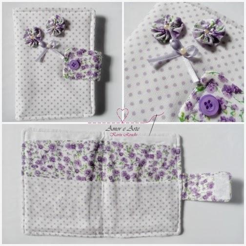 Carteira em tecido - Charme - Lilás floral e Branco poá