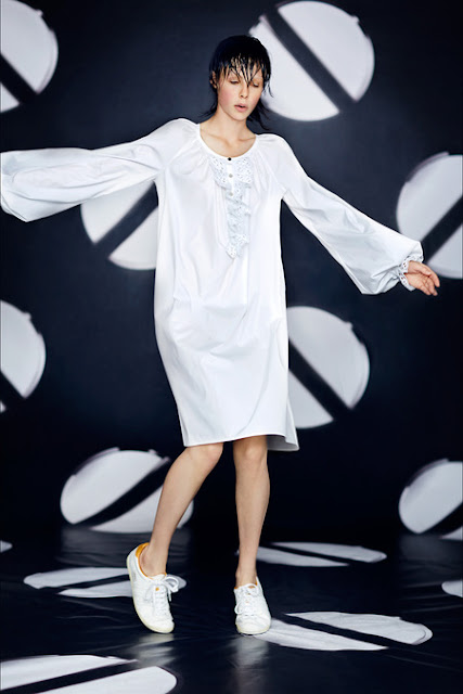 Giles, Resort 2014 - white nightgown with wet bathtime hair, sneakers