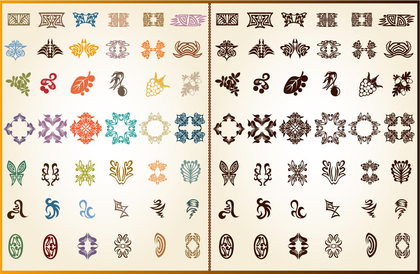 レースパターンの飾り素材 lace patterns corner textures イラスト素材
