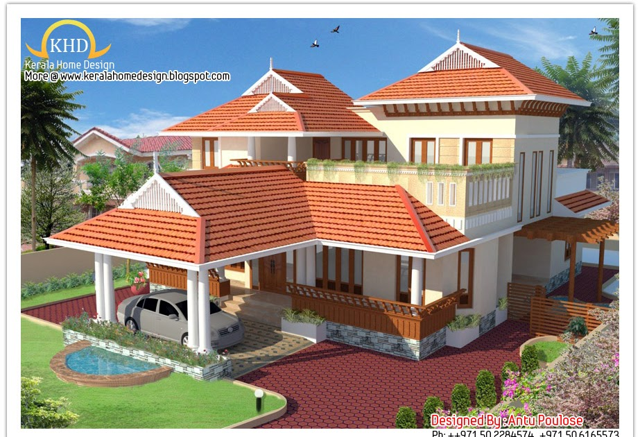 Beautiful sloping roof house elevation 2150 sq ft kerala house
