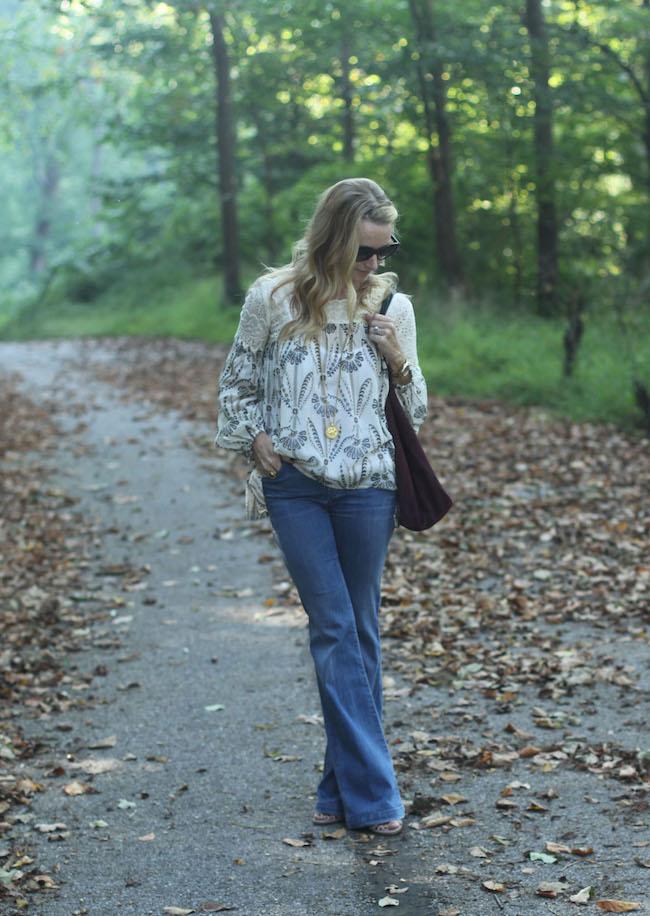 anthropologie peasant top, goldsign flare jeans, mango handbag