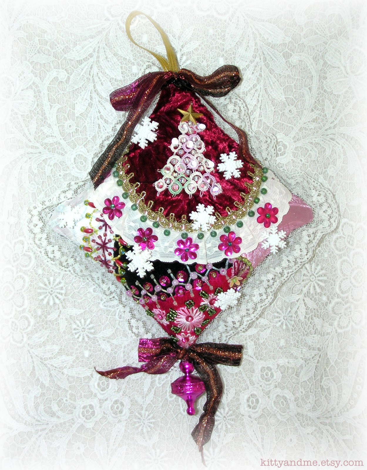 Quilting Christmas Ornaments Patterns : Kitty And Me Designs: Crazy Quilt Christmas Ornaments