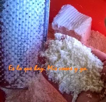 jabón, rallar, polvo