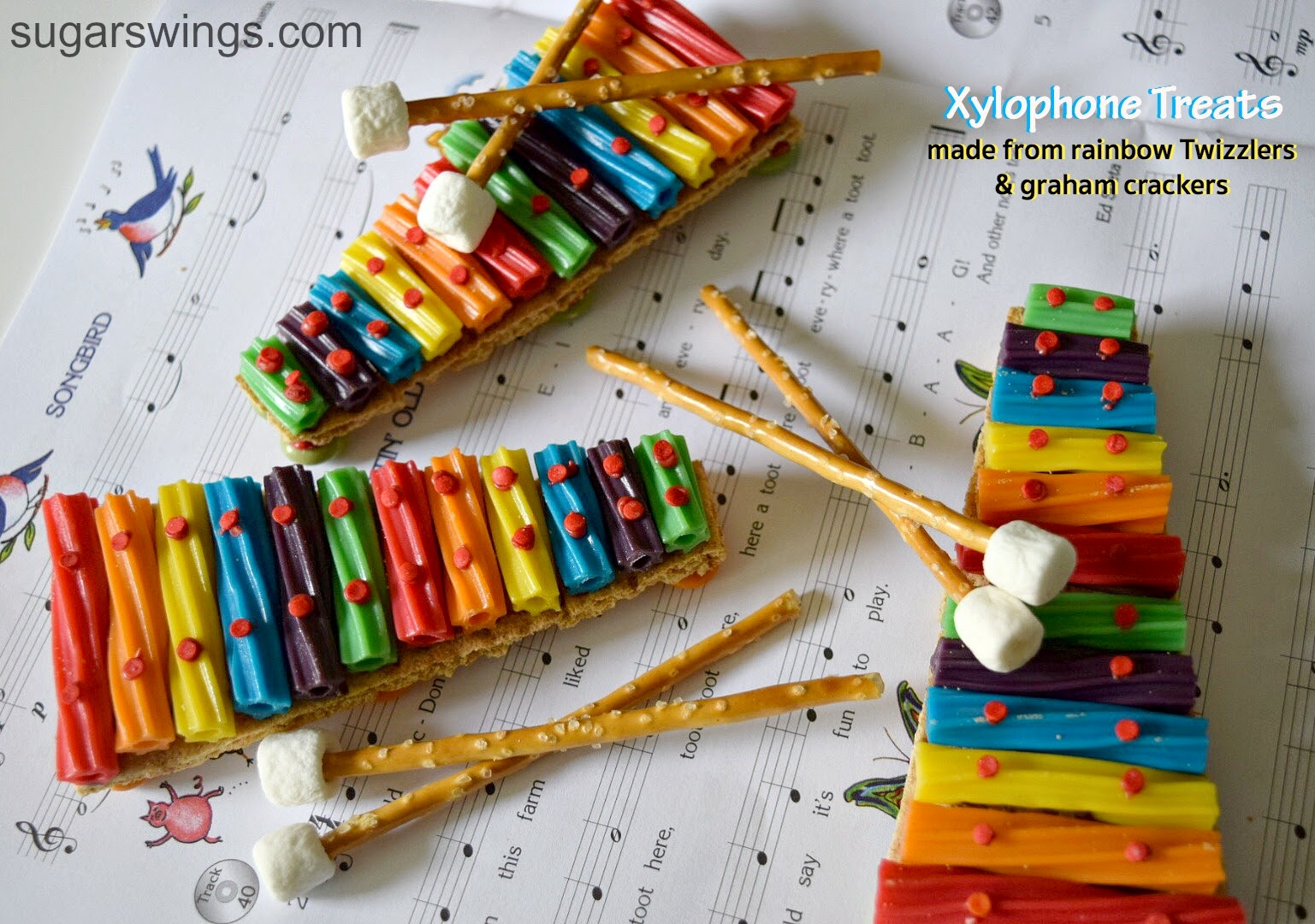 Sugar swings serve some rainbow twizzler xylophone treats for Cuisine instrument