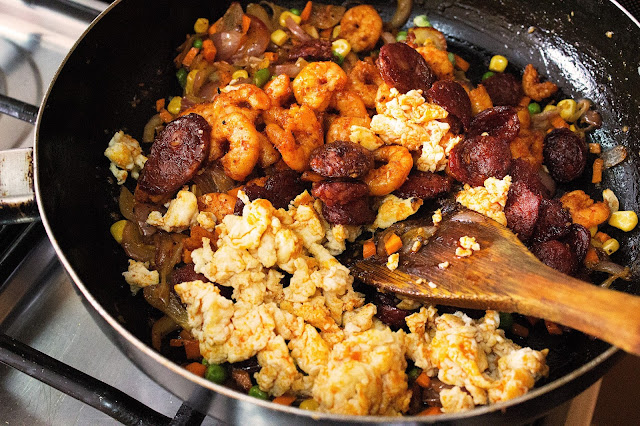 prawns and chorizo fried rice recipe with step by step pictures