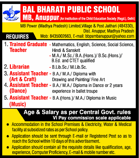 jobs in bal bharati public school mb  anuppur   tgt  librarian    how to apply