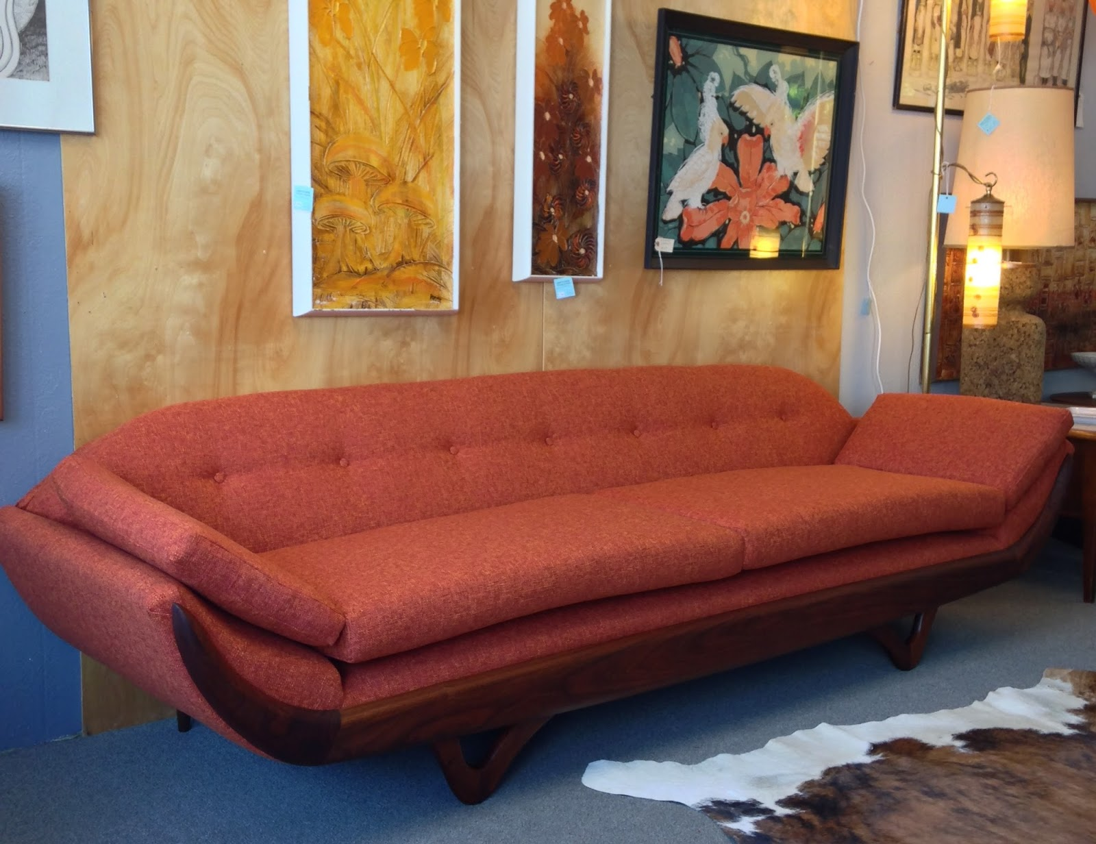 Adrian Pearsall Style Gondola Sofa, Refinished And Reupholstered.