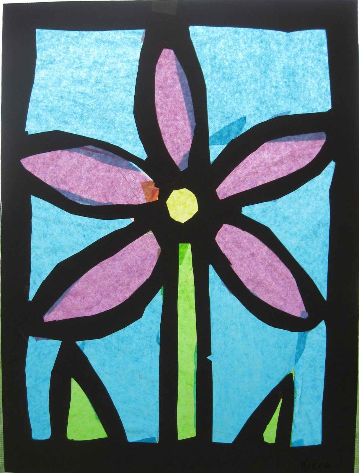 Tissue paper stained glass art class ideas for Stained glass window craft with tissue paper
