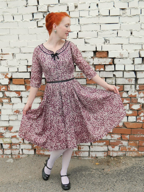1940s cherry print dress bow, Just Peachy, Darling