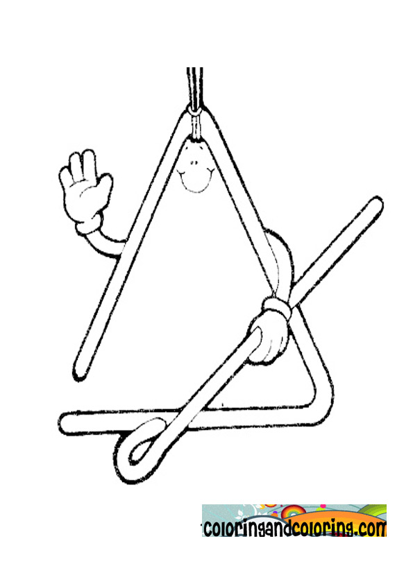 triangle instrument coloring page coloring pages