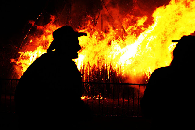 The huge bonfire known as Burn The Grump at the Vinotok Festival in Crested Butte, Colorado.