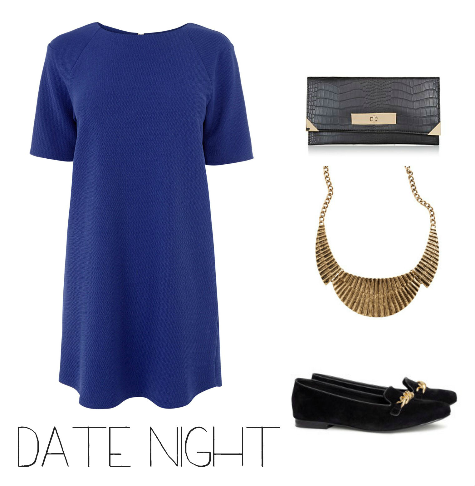 Date night outfit with shift dress