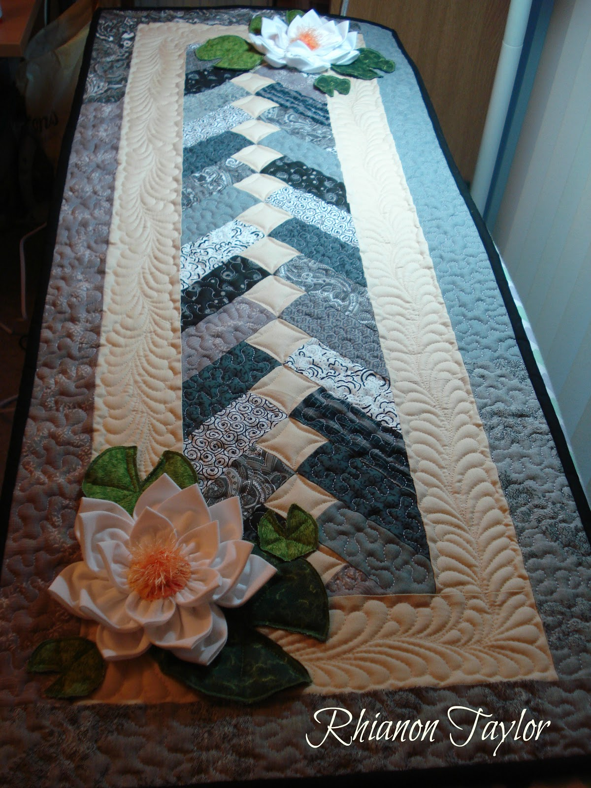 The Nifty Stitcher Table Runner With Water Lilies