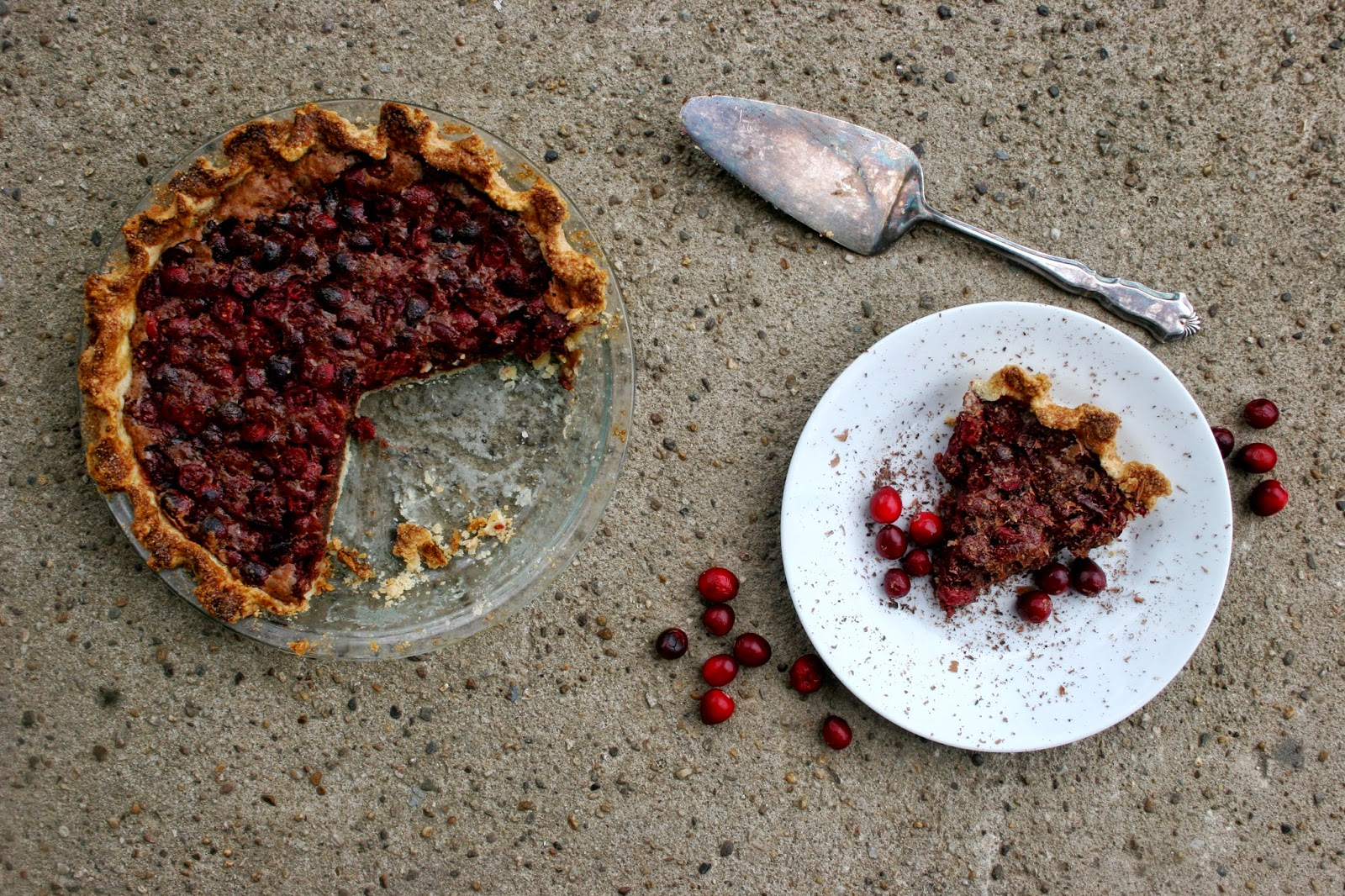 Cranberry Chocolate Cheese Pie with Slice