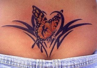 Lower back Butterfly Tribal Tattoo Design