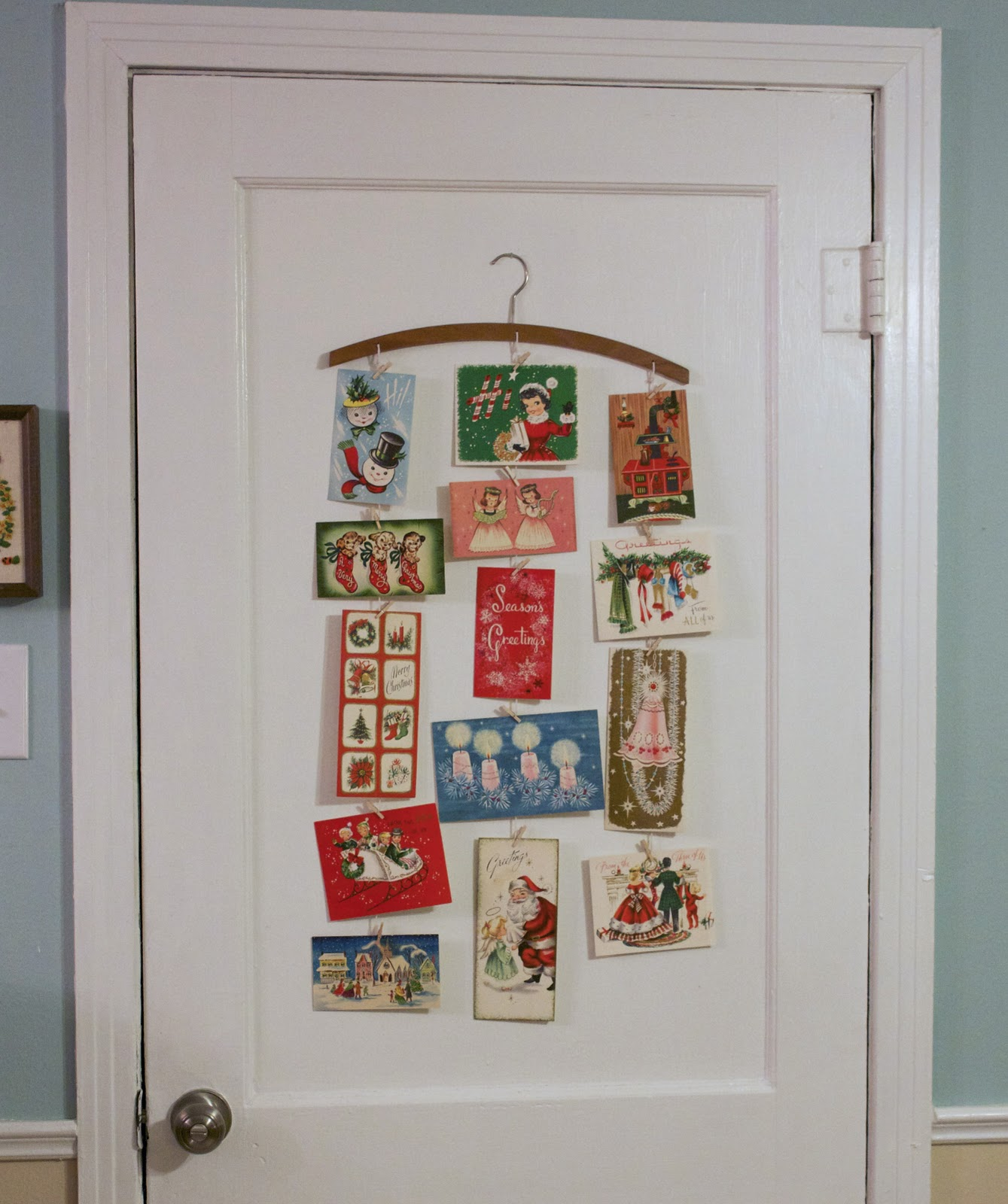 file me away: vintage christmas card display tutorial
