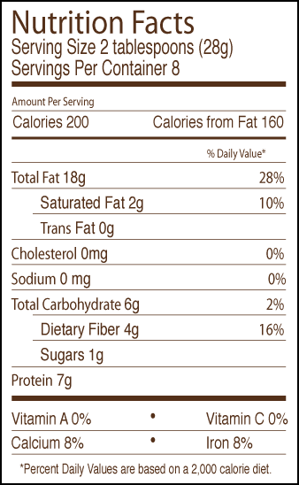 Almond butter nutritional label.