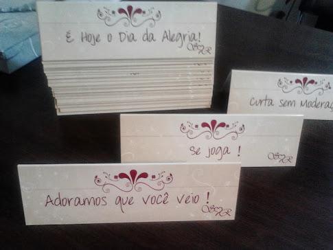 Plaquinhas para mesas dos convidados