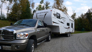 Our truck and fifth wheel trailer at a rest stop