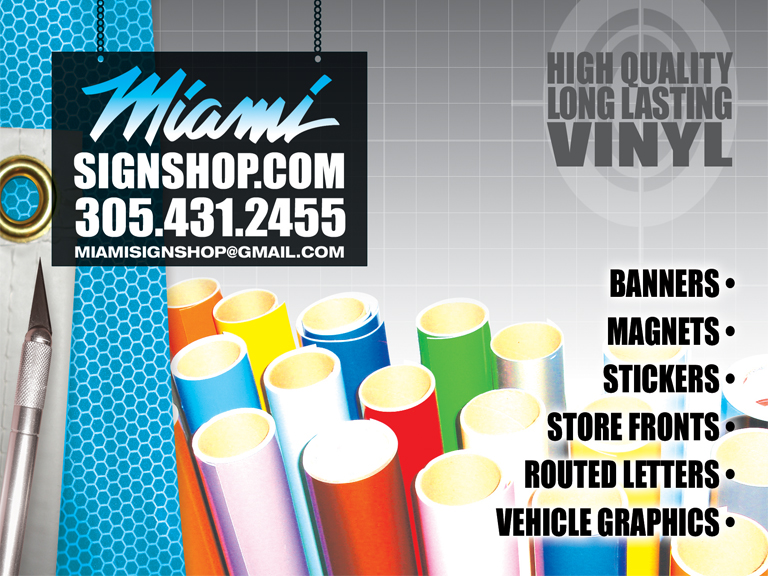 Sign shop miami sticker printing miami wynwood aventura vinyl miami sign shop is your 1 source for professional signs printing sticker printing vinyl graphics banners business cards magnets posters and more reheart Images