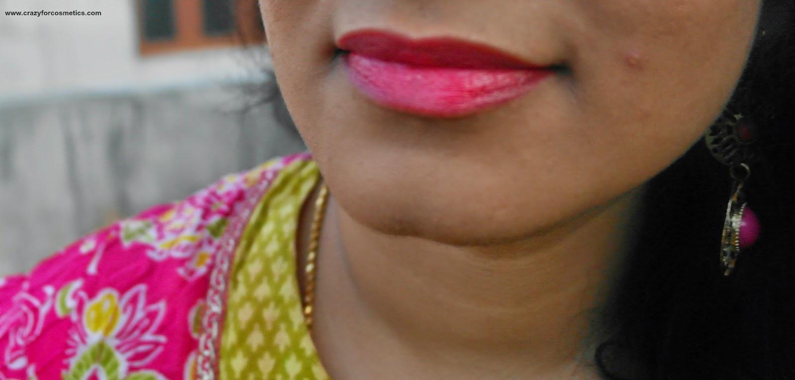 Bourjois Paris Color Boost Lip Crayon in Red Sunrise lip swatches