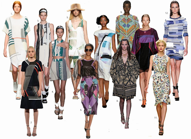 New York fashion week, fashion week, tess giberson,fashion week, SS14trends, fashion trends, geometric shapes, abstract shape trend, geoetric fashion trend, jonathan simkhai, louise goldin, Tibi, Mara Hoffman, Herve Leger