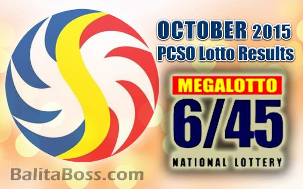October 2015 MegaLotto 6/45 PCSO Lotto Results