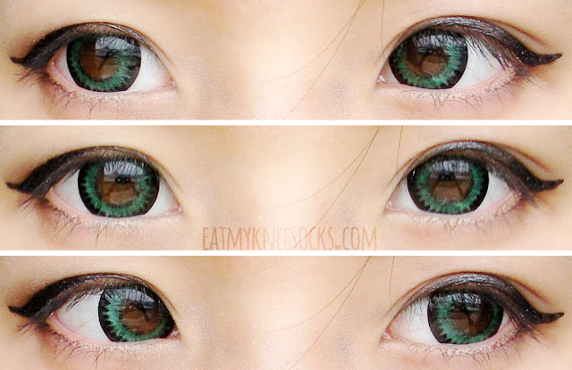 Different views of the Vassen/Fynale Florence Green circle lenses from Love Shoppingholics, modeled on dark brown eyes with ulzzang-inspired makeup.