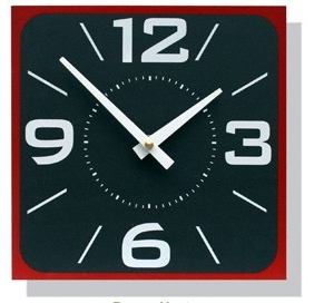 wall clock, square, white on black