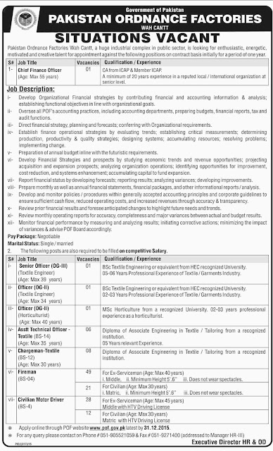 Jobs in Pakistan Ordnance Factories Wah Cantt