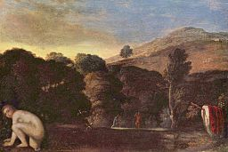 oil paining: Landschaft mit badender Nymphe - by Adam Elsheimer