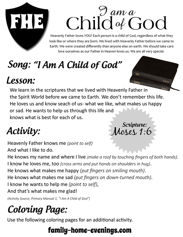 i am a child of god free printable lesson - A Child God Coloring Page