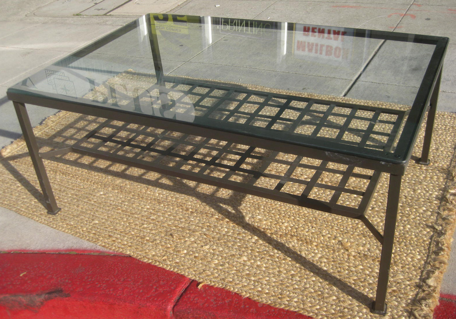 Uhuru Furniture Collectibles Sold Metal Glass Coffee Table 25