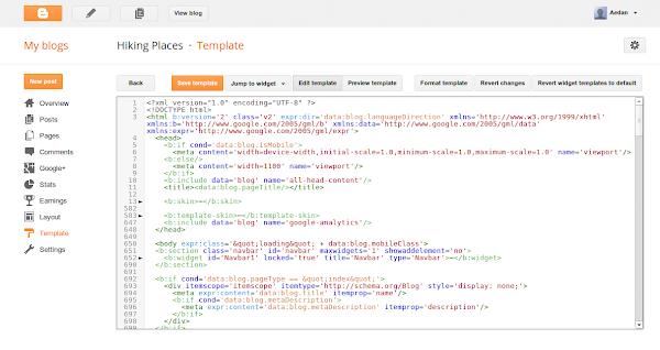 Tampilan Template HTML Editor Blogger