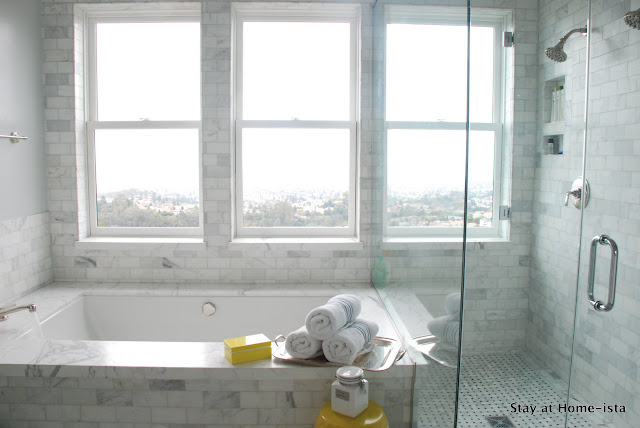 Marble tile master bathroom