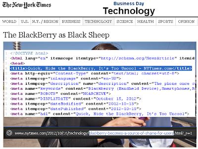 Ante una penosa publicación realizada por el periódico New York Times, titulada «El BlackBerry como oveja negra», que cuenta con nombre de pagina: «Rápido, Oculta el BlackBerry, Es demasiado Uncool» y en su dirección web «blackberry se convierte en una fuente de vergüenza para los usuarios», el CEO de RIM, Thorsten Heins, decidió dar respuesta en una carta que fue publicada por el mismo periódico, la cual citamos a continuación: «BlackBerry como Oveja Negra en los Teléfonos Inteligentes» carece del equilibrio que sus lectores esperan. Con más de 80 millones de clientes a nivel mundial, BlackBerry está creciendo y sigue