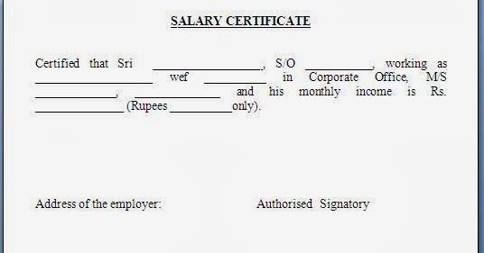 Format Of Salary Certificate Letter Download Salary Certificate – Sample Salary Certificate Letter