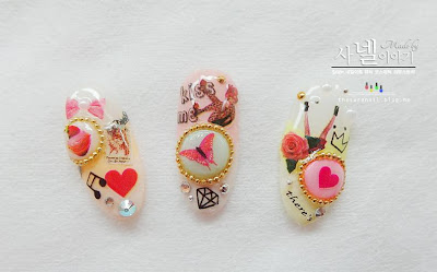 DIY nail art, Collage nail art, gel nail art