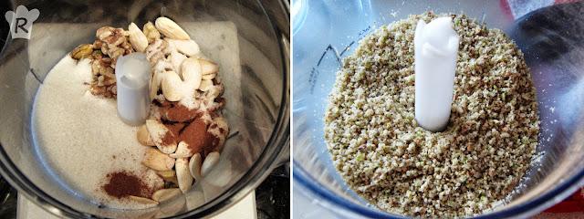 Pela y pica los frutos secos, con el azúcar y la canela