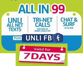 SMART Unli All Net Texts + Tri-Net Calls + Chat & Surf with UNLI FB 7 Days