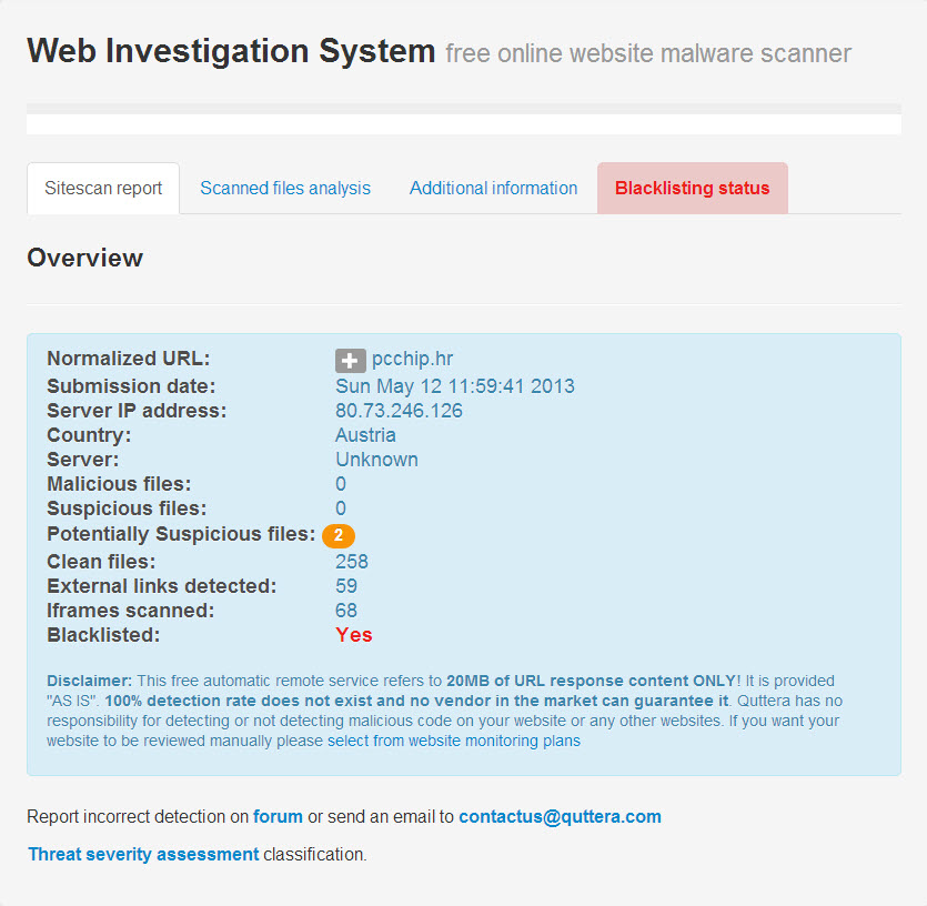 Quttera | Website Malware Scanner