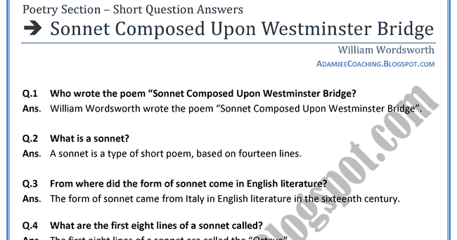 "essays on composed upon a westminster bridge Fatima adel 9f mrwilliam analysing ""composed upon westminster bridge""the poem ""composed upon westminster bridge"" was written by william wordsworth."