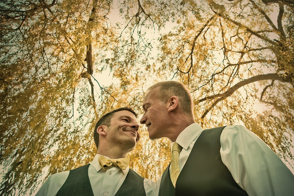 Mike and Mark with trees overhead at the Hall at Fauntleroy - Patricia Stimac, A Heavenly Ceremony