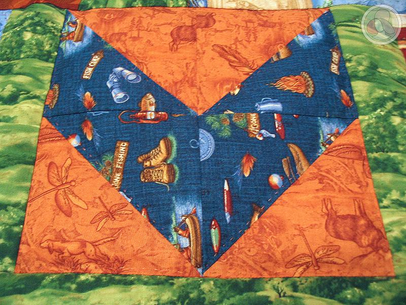 Bloque de triángulos de patchwork