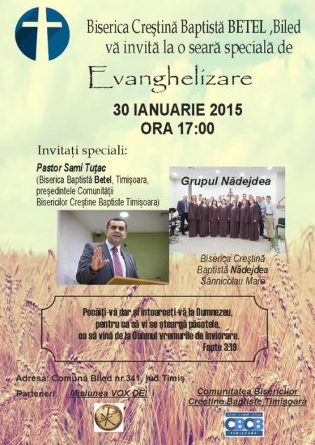 Evanghelizare la Biserica Baptista din Biled - 30 ian 2016