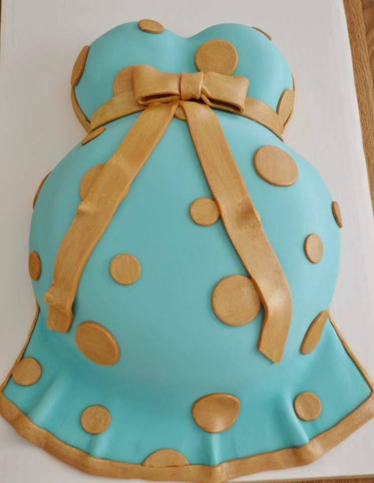 ... Polka Dot Blue Gold Baby Bump Cake