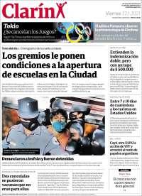 ARGENTINA  UNA  PRIMERA PÁGINA DE LA PRENSA