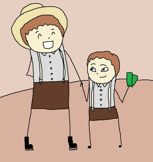 Almanzo, holding his father's hand and a wad of money.  His father looks happy and is talking.