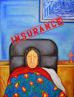 Painting of ill woman with insurance stamp above her head
